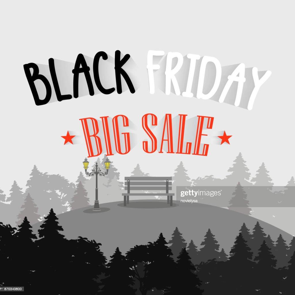 Black friday big sale with hills landscape background