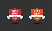 Black Friday & Cyber Monday sale sign design templates