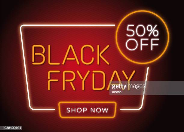 Black Friday design in fashionable neon style for advertising, banners, leaflets and flyers. - Illustration