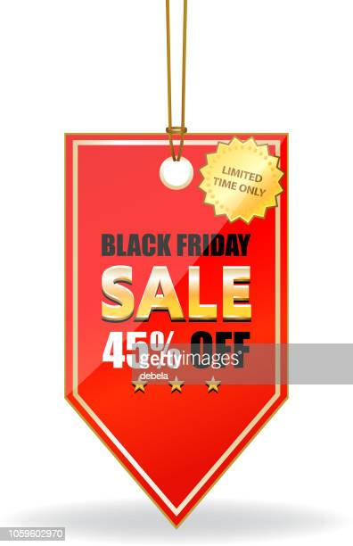 Black Friday Forty Five Percent Sale Shiny Red Price Tag On A Rope