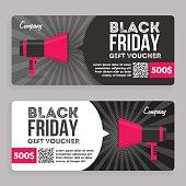 Black Friday Gift Voucher. Flat Design. Announcement