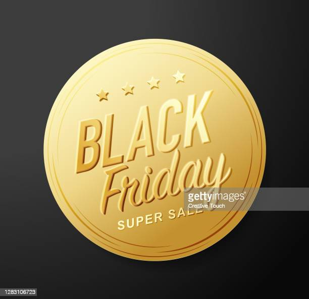 black friday golden sticker - gold medal stock illustrations