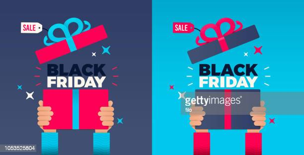 black friday hands holding up holiday gift - open stock illustrations