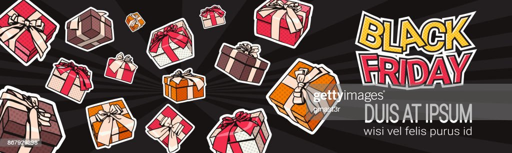 Black Friday Horizontal Banner Design With Present And Gift Boxes On Background Shopping Template Poster With Copy Space Concept