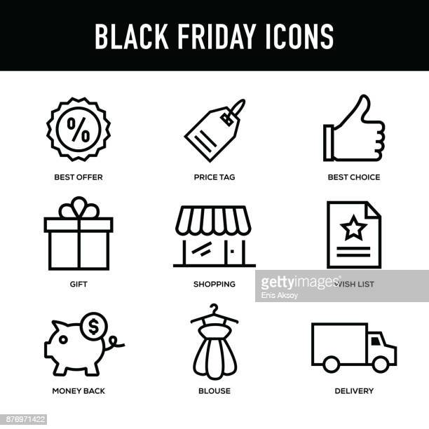 black friday icon set - thick line series - thick stock illustrations