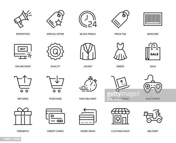 black friday icon set - dress stock illustrations
