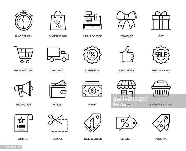 black friday icon set - cash register stock illustrations