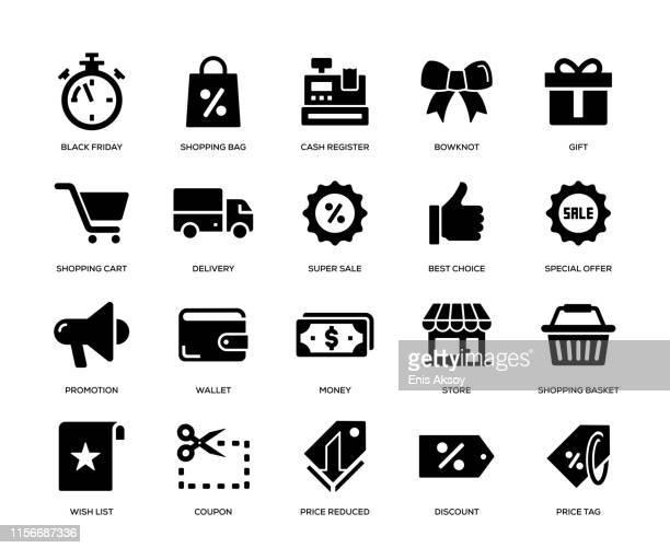 black friday icon set - shopping stock illustrations