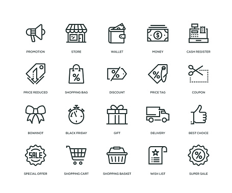 Black Friday Icons - Line Series - gettyimageskorea
