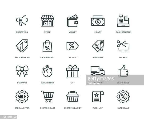 black friday icons - line series - consumerism stock illustrations