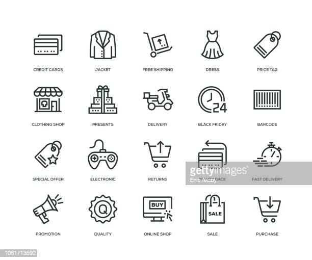 black friday icons - line serie - tag stock-grafiken, -clipart, -cartoons und -symbole