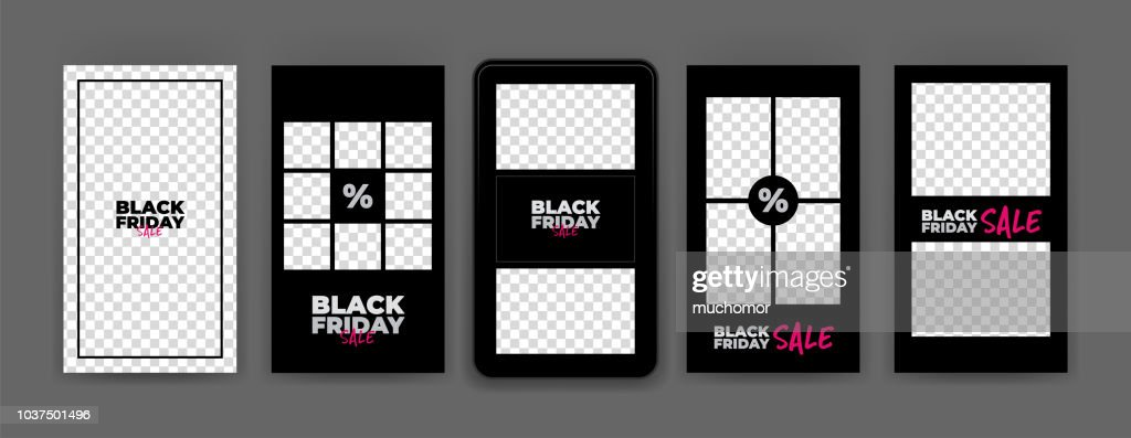 Black Friday Instagram Stories template. Sale. Streaming.