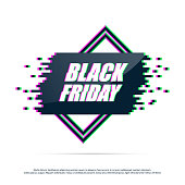 Black Friday label with distorted glitch effect. Geometric shape with glitch effect.