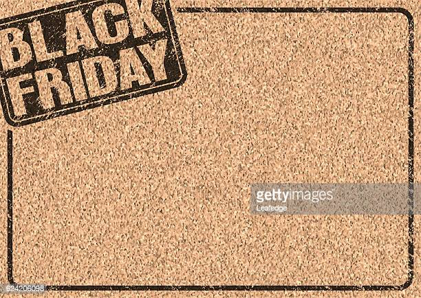 black friday logo on the cork board - bulletin board flyer stock illustrations