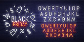 Black Friday neon sign, bright signboard, light banner. Black Friday, emblem and label. Neon sign creator. Neon text edit