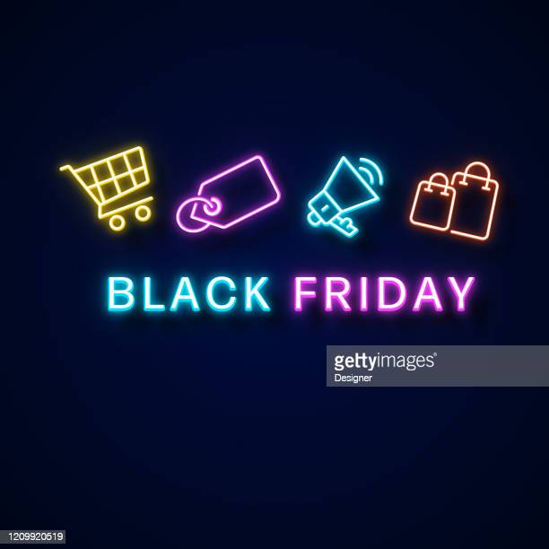 black friday neon style, design-elemente - freitag stock-grafiken, -clipart, -cartoons und -symbole