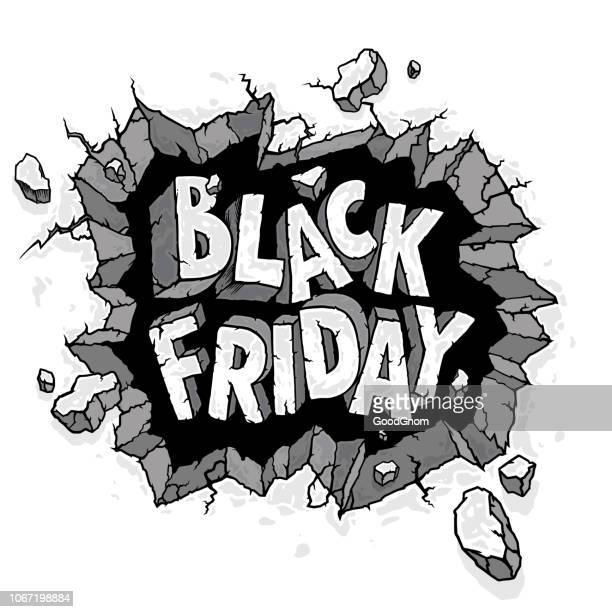 ilustrações de stock, clip art, desenhos animados e ícones de black friday poster - rachado