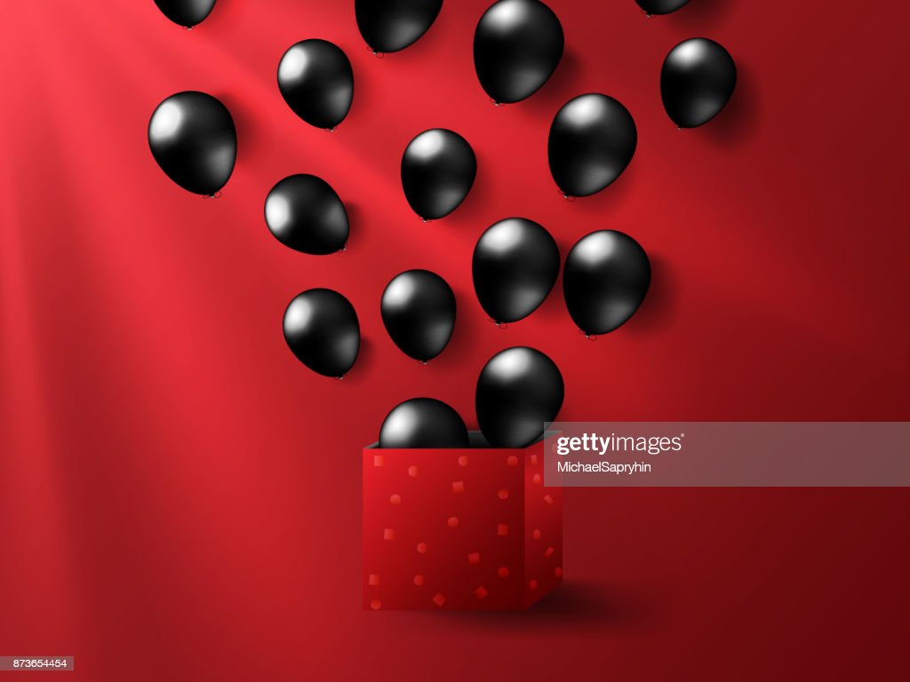 Black friday realistic balloons from red box in lighting background. Vector illustration.