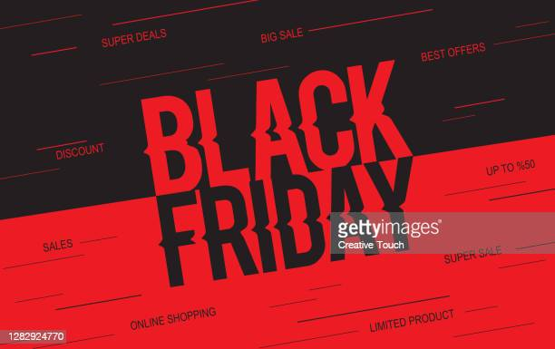 black friday red banner - heading the ball stock illustrations