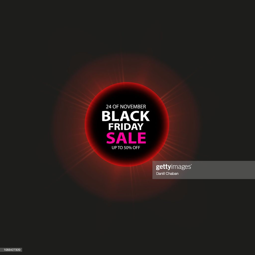 Black Friday sale and Total solar eclipse poster or banner. Glowing colorful circle with red light effect on black abstract background. Design template for shopping
