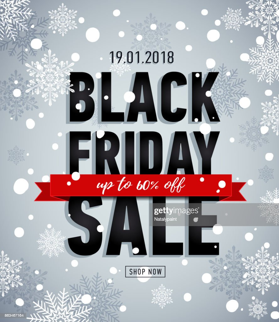 Black friday sale banner. Online shopping. Winter snowy poster. Trendy sale banner.Sale Up to 60% off.Advertising banner