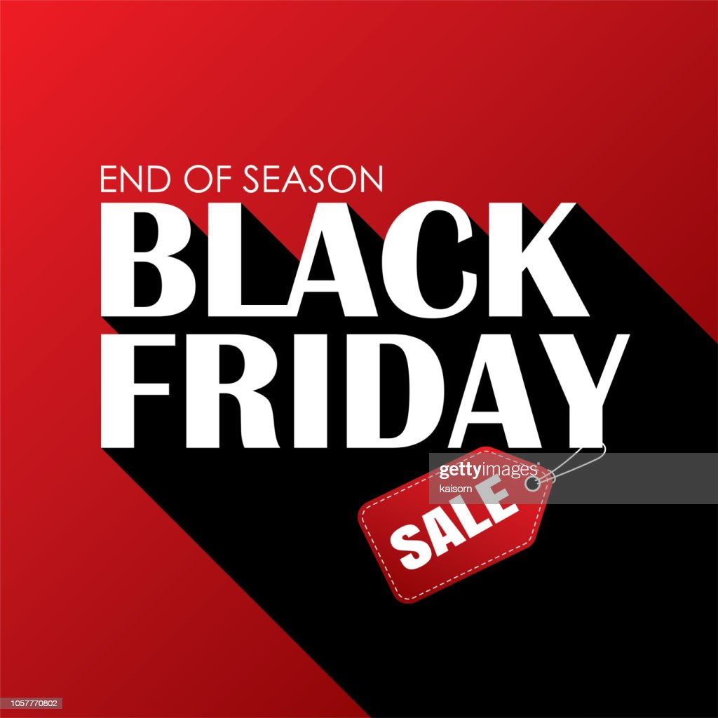 Black friday sale banner white text on red background. Use for advertising, label, posters.