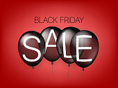 Black friday sale concept with air balloons. Vector illustration