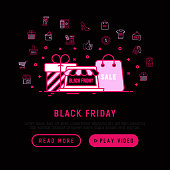 Black friday sale concept with thin line icons: store, shopping cart, wallet, credit card, payment, thumbs up, badge, special offer. Modern vector illustration, web page template.