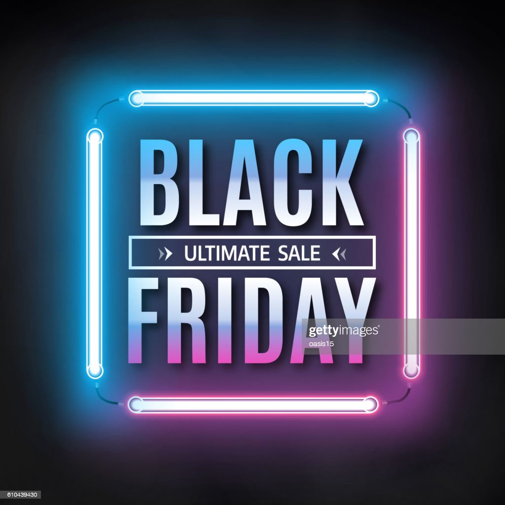 Black friday sale design template. Black friday light frame