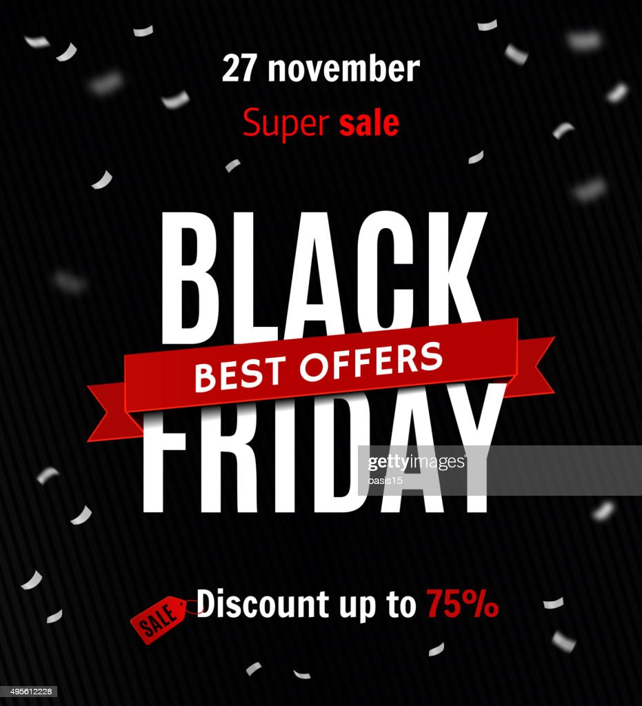Black friday sale design template. Sale inscription on confetti background