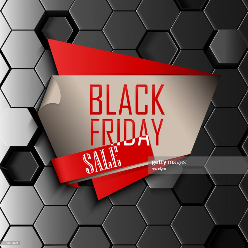Black friday sale design template with gray hexagonal background