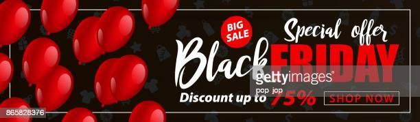 ilustraciones, imágenes clip art, dibujos animados e iconos de stock de folleto de venta de viernes negro con globos - ilustración de vectores - black friday