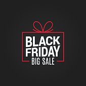 black friday sale gift box on black background