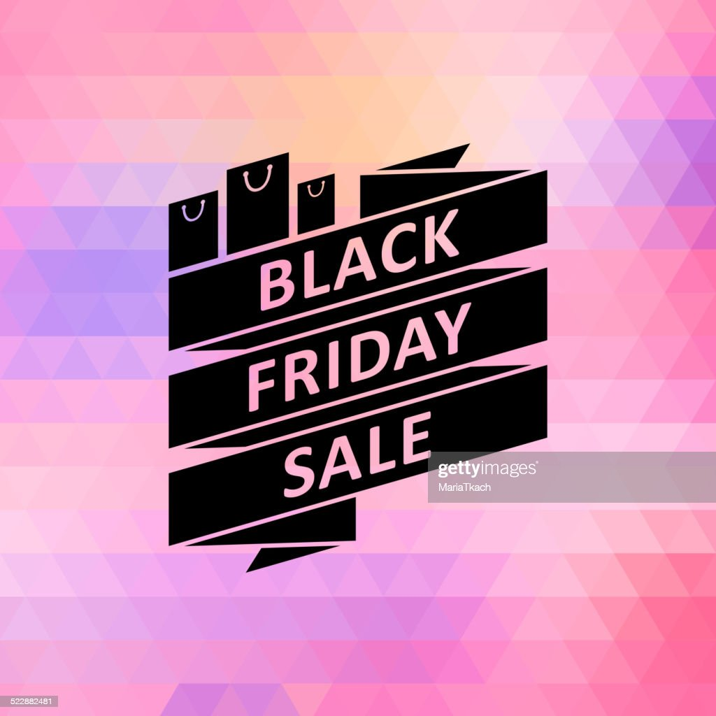 Black friday sale illustration with ribbon.