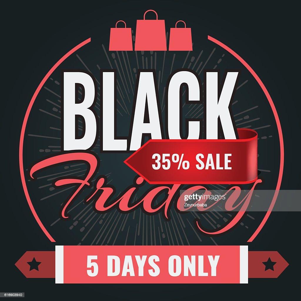 Black Friday sale inscription design banner template. Vector illustration