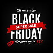 Black friday sale inscription design template. Black friday banner