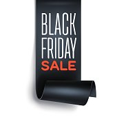 Black Friday sale inscription with black detailed curved ribbon.