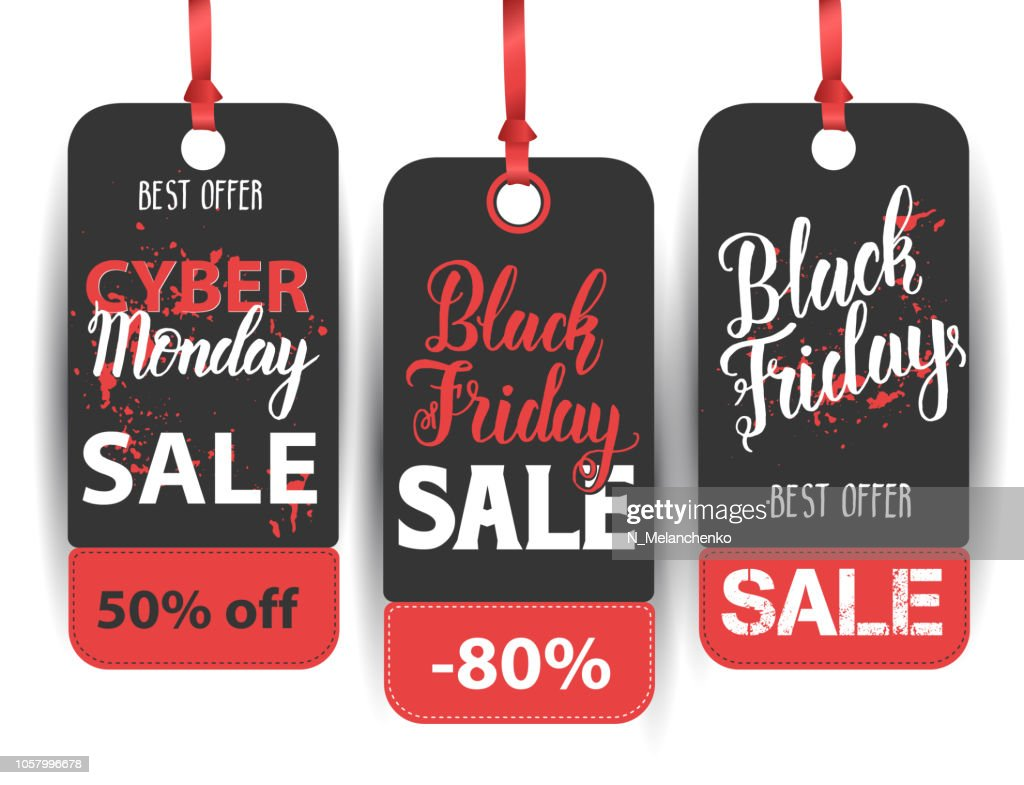Black Friday Sale label set with hand made quote. Handwritten modern brush lettering of Black Friday, Cyber Monday. Best Offer. 50% off, 80% off