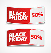 Black friday sale label, sticker and coupon.