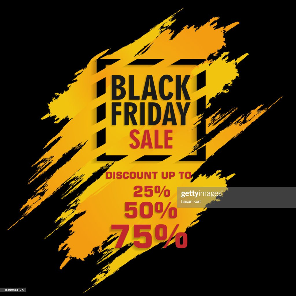 Black Friday Sale label, warning Design. Editable Stories template. Vector illustration.