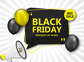 Black Friday Sale Poster. Seasonal discount banner - yellow and black balloons, black speech bubble frame and megaphone.