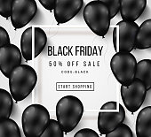 Black Friday Sale Poster with Balloons on White