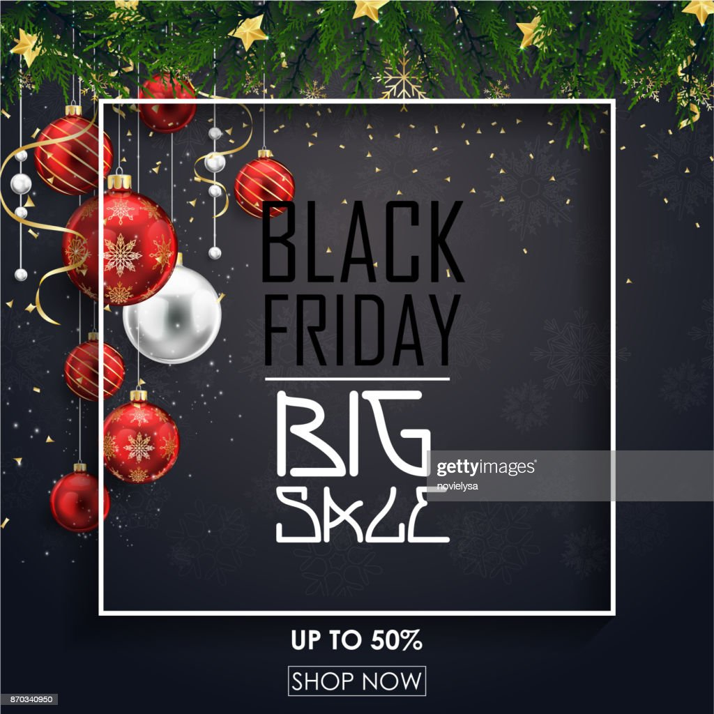 Black friday sale poster with red christmas balls and fir branches on black background