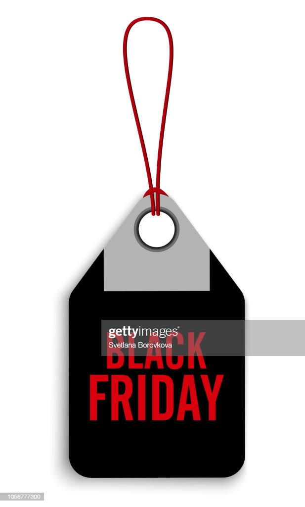 Black Friday sale promo price tag or label template isolated on white.