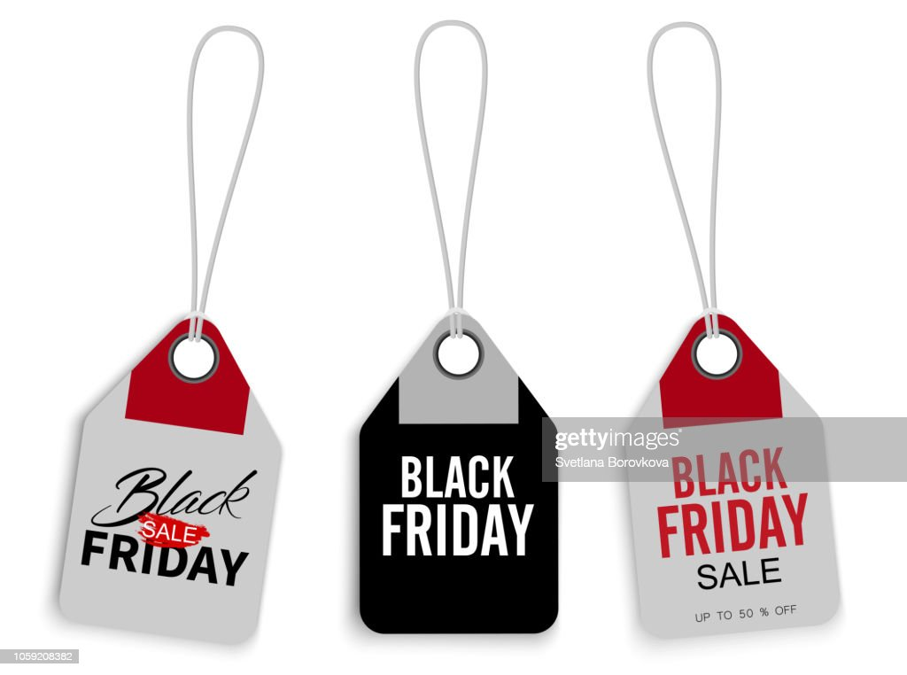 Black Friday sale promo price tags or label templates isolated on white.