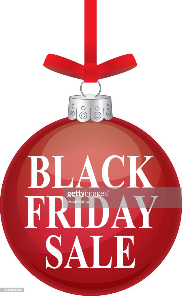 black friday sale red christmas ornament vector art