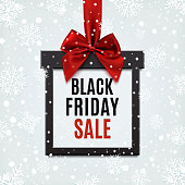 Black Friday sale, square banner in form of Christmas gift.