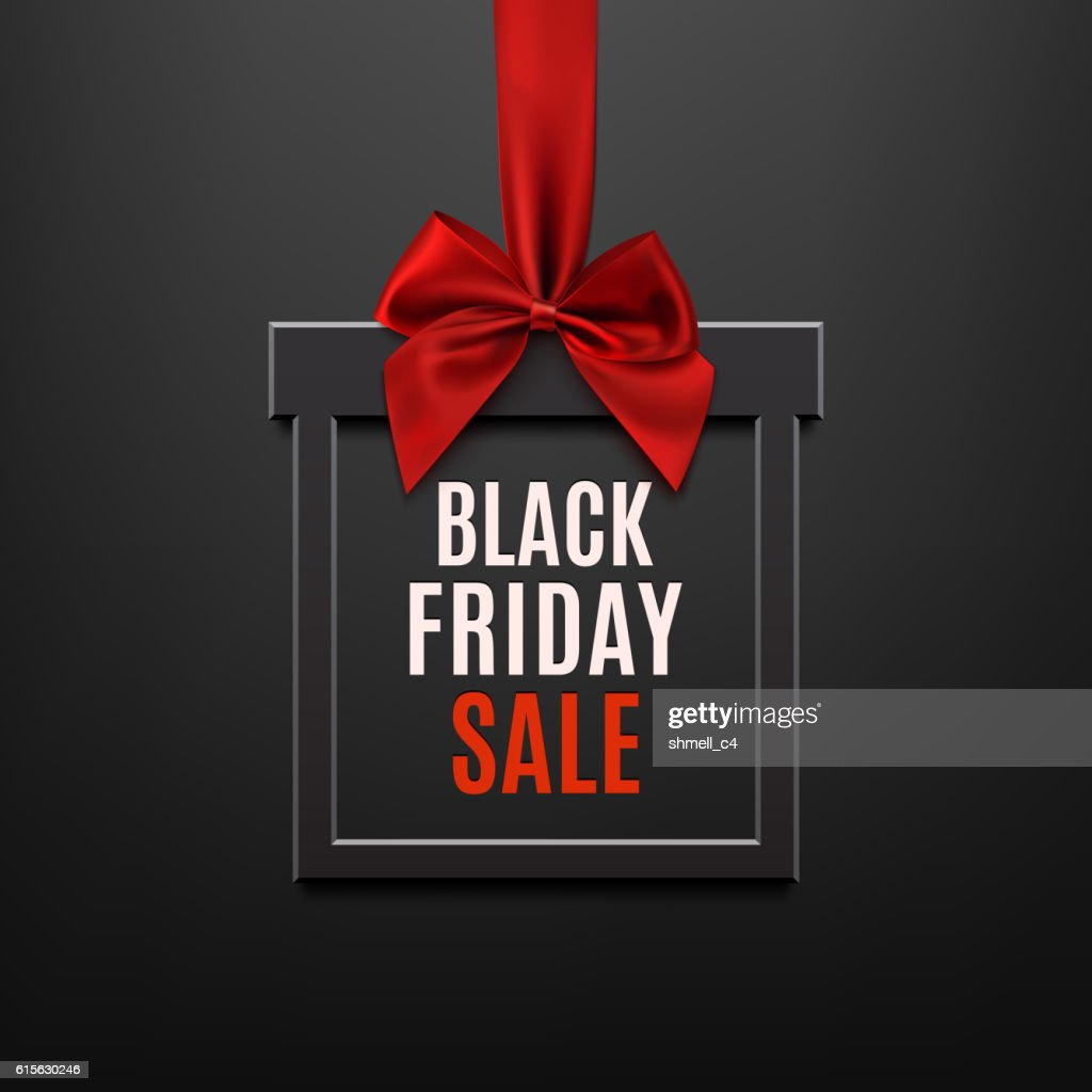 Black Friday sale, square banner in form of gift.
