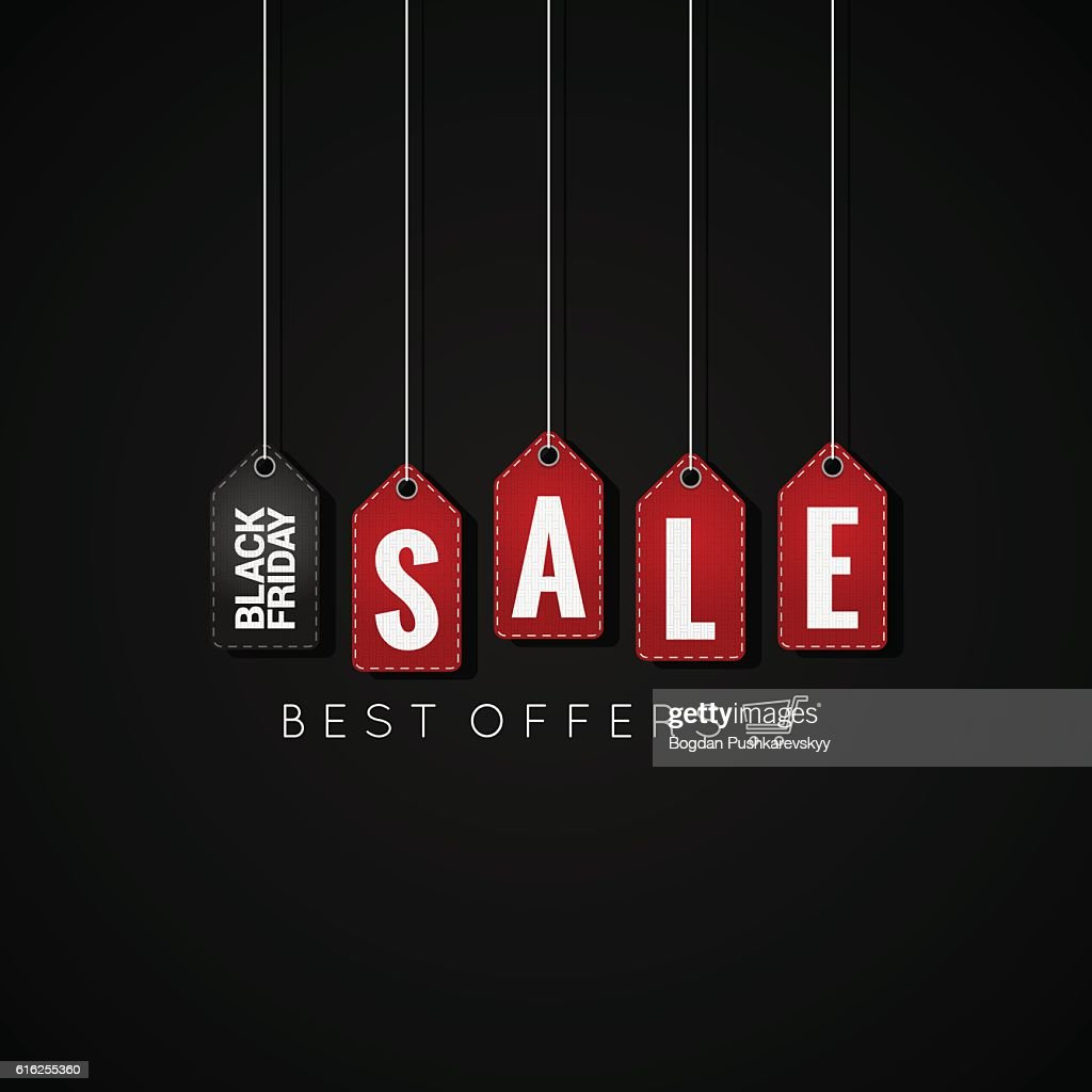 Black Friday sale tags on background : Arte vetorial