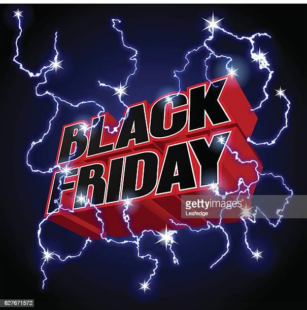 ilustraciones, imágenes clip art, dibujos animados e iconos de stock de black friday sale title logo [thunder] - black friday